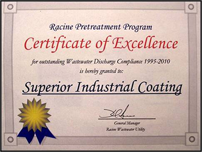 Racine Water Pretreatment Certificate of Excellence